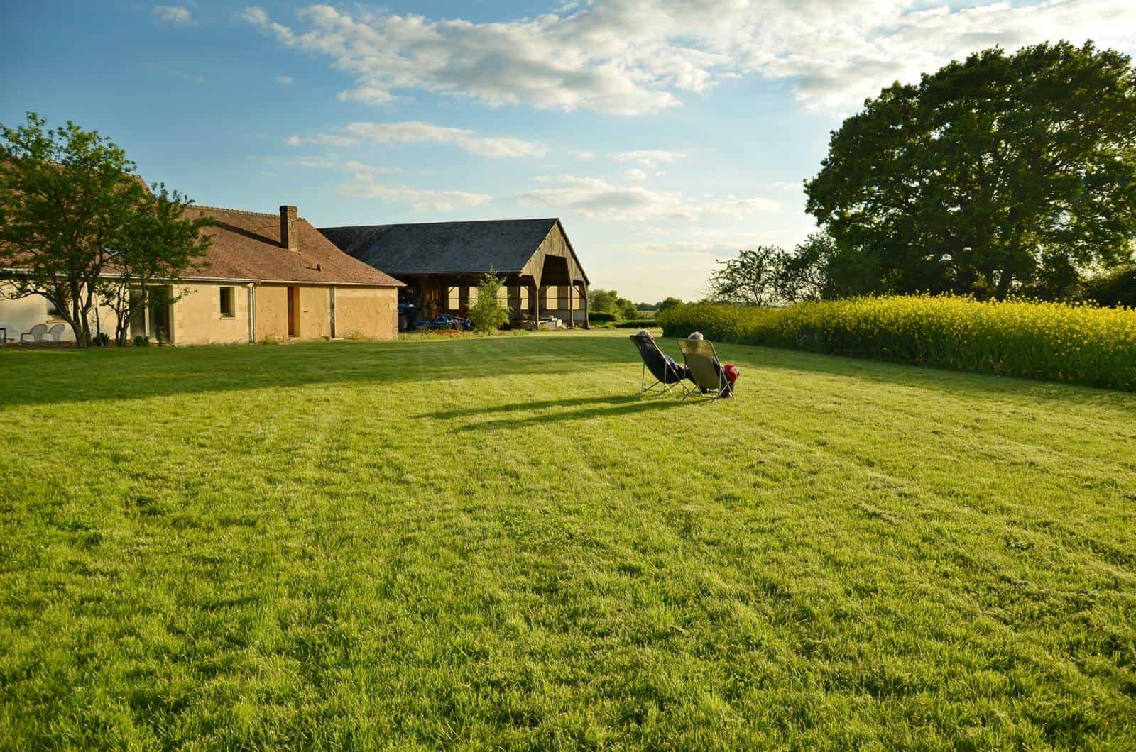 Une grande pelouse où se prélasser dans des transats - gîte rural de Haute Forêt en Vallée du Loir